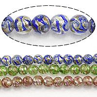Goldsand Lampwork Perlen, rund, keine, 11mm, Bohrung:ca. 2.5mm, Länge:ca. 13.5 ZollInch, 5SträngeStrang/Menge, ca. 35PCs/Strang, verkauft von Menge