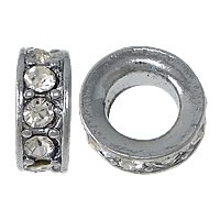Strass Zinklegierung Perlen, Rondell, Platinfarbe platiniert, mit Strass & großes Loch, frei von Nickel, Blei & Kadmium, 5x13mm, Bohrung:ca. 7.5mm, 100PCs/Menge, verkauft von Menge