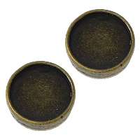 Zinklegierung Gleiten Charme Zubehör, flache Runde, antike Bronzefarbe plattiert, frei von Nickel, Blei & Kadmium, 14x14x5mm, Bohrung:ca. 8x1.5mm, Innendurchmesser:ca. 12mm, 200PCs/Menge, verkauft von Menge