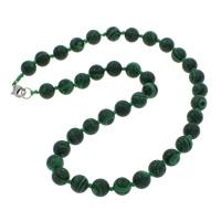 Malachit Halskette, Zinklegierung Karabinerverschluss, rund, synthetisch, 10mm, verkauft per ca. 18 ZollInch Strang