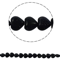 Blaue Goldstein Perlen, blauer Goldsand, Herz, natürlich, 10x5mm, Bohrung:ca. 1.5mm, ca. 36PCs/Strang, verkauft per ca. 15.7 ZollInch Strang