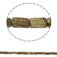 Bild Jaspis Perlen, Rechteck, natürlich, 6x12x4mm, Bohrung:ca. 1.5mm, ca. 33PCs/Strang, verkauft per ca. 15.7 ZollInch Strang