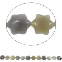 Natürliche graue Achat Perlen, Grauer Achat, Blume, 13x15x5mm, Bohrung:ca. 1.5mm, ca. 28PCs/Strang, verkauft per ca. 15.7 ZollInch Strang