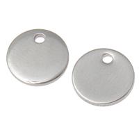 Edelstahl Schmuck Anhänger, flache Runde, originale Farbe, 8x1mm, Bohrung:ca. 1mm, 200PCs/Tasche, verkauft von Tasche