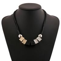 Gewachste Nylon Halsband, Gewachste Nylonschnur, mit Zinklegierung, mit Verlängerungskettchen von 2lnch, plattiert, gehämmert, 50mm, Länge:ca. 17 ZollInch, 10SträngeStrang/Menge, verkauft von Menge