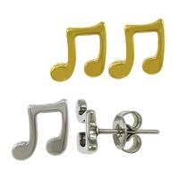 Edelstahl Ohrringe, Musiknote, plattiert, keine, 9x8.50x11.50mm, verkauft von Paar