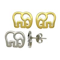 Edelstahl Ohrringe, Elephant, plattiert, keine, 11x9x11.50mm, verkauft von Paar