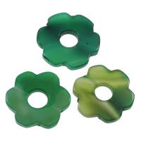 Natürliche grüne Achat Perlen, Grüner Achat, Blume, 49x46x6mm-52x50x7mm, Bohrung:ca. 2-3mm, 10PCs/Tasche, verkauft von Tasche