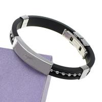 Herren-Armband & Bangle, Silikon, mit Edelstahl, schwarz, 39x10x5mm, 9mm, verkauft per 8-9 ZollInch Strang