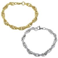 Edelstahl Schmuck Armband, plattiert, Seil-Kette, keine, 10x7x1mm, 2mm, verkauft per ca. 8.5 ZollInch Strang
