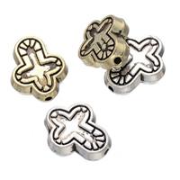Zink Legierung Perlen Schmuck, Zinklegierung, Kreuz, plattiert, keine, frei von Nickel, Blei & Kadmium, 12x14mm, Bohrung:ca. 1.3mm, 100PCs/Menge, verkauft von Menge