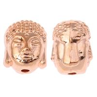 Buddhistische Perlen, Zinklegierung, Buddha, Rósegold-Farbe plattiert, frei von Nickel, Blei & Kadmium, 7.50x10x8mm, Bohrung:ca. 1.5mm, ca. 380PCs/kg, verkauft von kg