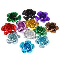 Aluminium-Lackschnitzerei, Aluminium, Blume, Spritzlackierung, aus China & geschichtet, keine, frei von Nickel, Blei & Kadmium, 15x9mm, Bohrung:ca. 1mm, 930PCs/Tasche, verkauft von Tasche