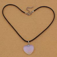 Meer Opal Halskette, mit Gewachste Hanfschnur & Messing, Zinklegierung Karabinerverschluss, mit Verlängerungskettchen von 5cm, Herz, 25x25x6mm, 3mm, Länge:ca. 17 ZollInch, 5SträngeStrang/Tasche, verkauft von Tasche