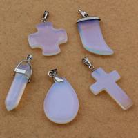 Opal Anhänger, mit Messing Stiftöse, Platinfarbe platiniert, gemischt, 13x40mm-25x25mm, Bohrung:ca. 2-5mm, 10PCs/Tasche, verkauft von Tasche