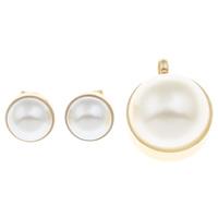 Edelstahl Schmucksets, Anhänger & Ohrring, mit ABS-Kunststoff-Perlen, flache Runde, goldfarben plattiert, 22x35x11mm,15x8mm, Bohrung:ca. 4.5mm, verkauft von setzen