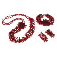 Natürliche Koralle Mode Schmuckset, Pullover Halskette & Armband & Ohrring, mit Süßwassermuschel & Kristall, Messing Federring Verschluss, Messing Haken, facettierte, rot, 16x60mm, 45x15mm, 5x9mm, Länge:ca. 7.5 ZollInch, ca. 23.5 ZollInch, verkauft von setzen