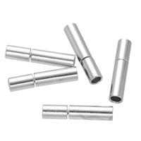 Messing Bajonettverschluss, Zylinder, Platinfarbe platiniert, frei von Nickel, Blei & Kadmium, 3x14mm, Bohrung:ca. 2mm, 100PCs/Menge, verkauft von Menge