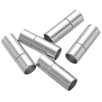 Messing Bajonettverschluss, Zylinder, Platinfarbe platiniert, frei von Nickel, Blei & Kadmium, 7x20mm, Bohrung:ca. 6mm, 100PCs/Menge, verkauft von Menge