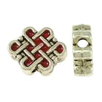 Imitation Cloisonne Zink Legierung Perlen, Zinklegierung, Chinesischer Knoten, silberfarben plattiert, doppelseitigen Schmelz & Schwärzen, rot, frei von Nickel, Blei & Kadmium, 11x9x4mm, Bohrung:ca. 2mm, 100PCs/Menge, verkauft von Menge