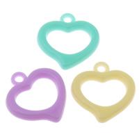 Acryl Anhänger, Herz, Süßigkeiten-Stil & Volltonfarbe, gemischte Farben, 19x20x2mm, Bohrung:ca. 1mm, 2Taschen/Menge, ca. 1660PCs/Tasche, verkauft von Menge