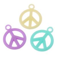 Acryl Anhänger, Frieden Logo, Süßigkeiten-Stil & Volltonfarbe, gemischte Farben, 15x19x3mm, Bohrung:ca. 1mm, 2Taschen/Menge, ca. 1660PCs/Tasche, verkauft von Menge