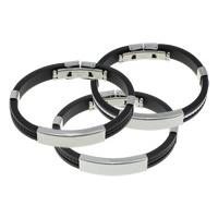 Herren-Armband & Bangle, Silikon, mit Edelstahl, keine, 39x10.5x6mm, 9x4mm, verkauft per ca. 8 ZollInch Strang