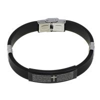 Herren-Armband & Bangle, Silikon, mit Edelstahl, plattiert, mit Quermuster & mit Brief Muster, schwarz, 38.5x12x5mm, 10x3.5mm, verkauft per ca. 8 ZollInch Strang