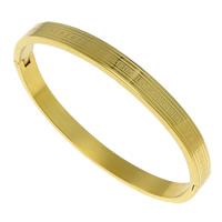 Edelstahl Armreif, goldfarben plattiert, 6x2.50mm, Innendurchmesser:ca. 58x50.5mm, Länge:ca. 6.5 ZollInch, verkauft von PC