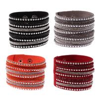 Slake Armband, Kuhhaut, mit Zinklegierung, Platinfarbe platiniert, einstellbar & mit Strass, keine, frei von Nickel, Blei & Kadmium, 45mm, verkauft per ca. 7.5 ZollInch Strang