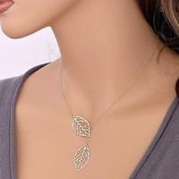 Zinklegierung Schmuck Halskette, Blatt, plattiert, Oval-Kette, keine, frei von Nickel, Blei & Kadmium, verkauft per ca. 19 ZollInch Strang