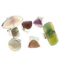 Achat Fingerring, gemischter Achat, mit Messing, Platinfarbe platiniert, natürliche & einstellbar, 18x25x6mm-29x58x5mm, Größe:9, 20PCs/Tasche, verkauft von Tasche