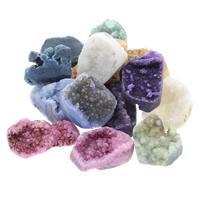 Druzy Beads, Eisquarz Achat, natürlich, druzy Stil & gemischt & halbgebohrt, 12x25x10mm-17x25x10mm, Bohrung:ca. 1.5mm, 30PCs/Tasche, verkauft von Tasche