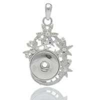 Chunk-Button-Weissgold, Messing, Blume, Platinfarbe platiniert, mit Strass & hohl, frei von Nickel, Blei & Kadmium, 55x34mm, Bohrung:ca. 6mm, Innendurchmesser:ca. 6mm, verkauft von PC