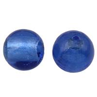 Silberfolie Lampwork Perlen, rund, handgemacht, verschiedene Größen vorhanden, blau, Bohrung:ca. 2mm, verkauft von Tasche