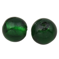 Silberfolie Lampwork Perlen, rund, handgemacht, verschiedene Größen vorhanden, grün, Bohrung:ca. 2mm, 100PCs/Tasche, verkauft von Tasche
