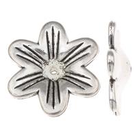 Verkupferter Kunststoff Perlenkappen, Blume, antik silberfarben plattiert, frei von Blei & Kadmium, 28x25x1mm, Bohrung:ca. 1mm, 50PCs/Tasche, verkauft von Tasche