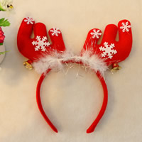Baumwollsamt Haarband, mit Kunststoff, Hirsch, Weihnachtsschmuck, rot, 220mm, 6PCs/Tasche, verkauft von Tasche
