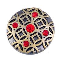 Zinklegierung Verbindungselement Komponente ausrichten, flache Runde, antike Bronzefarbe plattiert, mit Strass, frei von Nickel, Blei & Kadmium, 20mm, 5PCs/Tasche, verkauft von Tasche