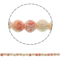 Buddhistische Perlen, Riesenmuschel, rund, verschiedene Größen vorhanden, muschelrosa, Bohrung:ca. 2mm, ca. 50PCs/Strang, verkauft von Strang