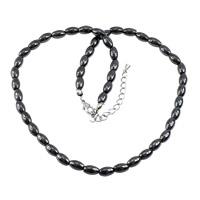 Non- magnetische Hämatit Halskette, Edelstahl Karabinerverschluss, mit Verlängerungskettchen von 2.5lnch, 8x5x5mm, Länge:ca. 16 ZollInch, 20SträngeStrang/Menge, verkauft von Menge