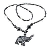 Non- magnetische Hämatit Halskette, Edelstahl Schraubschließe, Elephant, 44x38x6mm, Länge:ca. 20.5 ZollInch, 20SträngeStrang/Menge, verkauft von Menge
