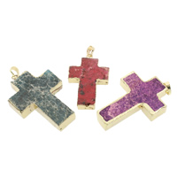 Imperial-Jaspis Anhänger, Impression Jaspis, mit Messing, Kreuz, natürlich, gemischte Farben, 28x45x7mm-35x55x8mm, Bohrung:ca. 5x7mm, 5PCs/Tasche, verkauft von Tasche