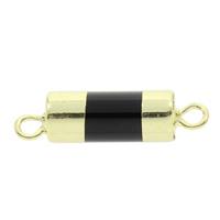 Schwarzer Achat Schmuckverbinder, mit Messing, Zylinder, natürlich, 1/1-Schleife, 30x8mm, Bohrung:ca. 2mm, 5PCs/Tasche, verkauft von Tasche