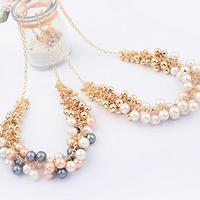 Plastik-Perlenkette, Zinklegierung, mit Kunststoff Perlen, mit Verlängerungskettchen von 2lnch, goldfarben plattiert, keine, frei von Nickel, Blei & Kadmium, Länge:ca. 17.7 ZollInch, 5SträngeStrang/Menge, verkauft von Menge