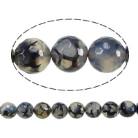 Natürliche Drachen Venen Achat Perlen, Drachenvenen Achat, rund, verschiedene Größen vorhanden & facettierte, Bohrung:ca. 1-1.5mm, Länge:ca. 15.5 ZollInch, verkauft von Menge