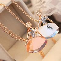 Kristall Zinklegierung Halskette, mit Kristall, Dancing Girl, goldfarben plattiert, Oval-Kette & facettierte & mit Strass, keine, frei von Nickel, Blei & Kadmium, verkauft per ca. 25.1 ZollInch Strang
