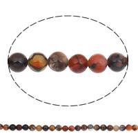 Natürliche Feuerachat Perlen, rund, 8mm, Bohrung:ca. 1mm, ca. 48PCs/Strang, verkauft per ca. 15 ZollInch Strang