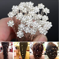 Haarnadeln, Eisen, mit ABS-Kunststoff-Perlen, Blume, silberfarben plattiert, mit Strass, frei von Nickel, Blei & Kadmium, 8x59mm, 20PCs/Menge, verkauft von Menge