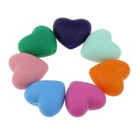 Silikon-Perlen, Silikon, Herz, FDA-Zulassung, keine, 20x19x12mm, Bohrung:ca. 2mm, 100PCs/Tasche, verkauft von Tasche